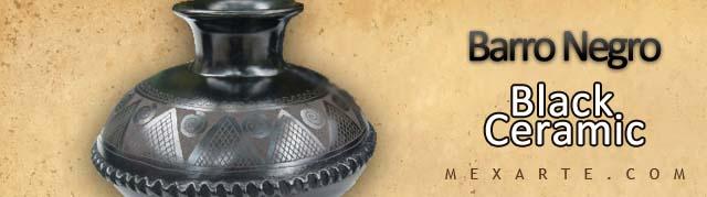 Barro Negro or black ceramic art from Mexico including home