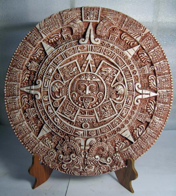 Hand Crafted Aztec And Maya Calendars Of Inlaid Wood Resin And